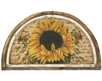 "Sunflower Wall Art | 30"" x 18"" | Arch Window Frame | Burlap Wall Hanging | French Farmhouse Decor |"