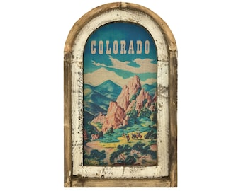 "Colorado Wall Art   14"" x 22""   Arch Window Frame   Linen Wall Hanging   Travel Poster Decor  "