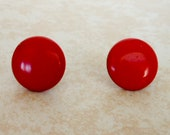 Vintage Cherry Red Screw Back Earrings , Lucite