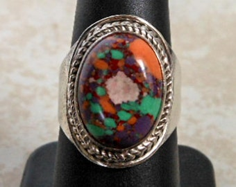 Vintage Rainbow Calsilica Ring   Sterling Silver   Size 8