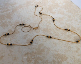 Vintage Delicate Gold Tone bead Necklace   30 Inch