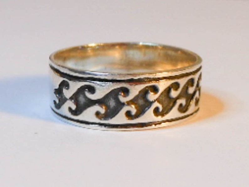 Vintage Mens Sterling Silver Wedding Band Size 9 Etched Band 7 Mm 925