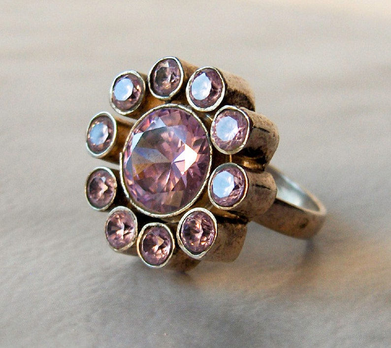 Light Purple cubic zirconia s   Size 8.5 Sterling Silver Purple Flower Ring Band Statement Big /& Bold