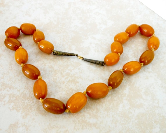 Vintage Butterscotch Bakelite Necklace ,   Genuine