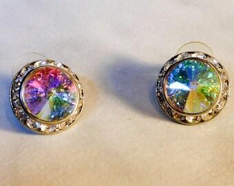 Icy Aurora Borealis Rivoli Earrings    3/4 Inch Diameter