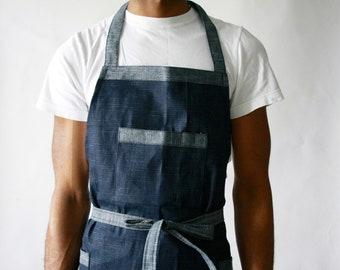 Hatched denim apron, mens apron, shop apron