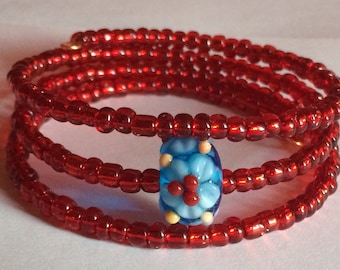 """Colorful """"Exotic Flower"""" Beaded Memory Wire Bracelet"""