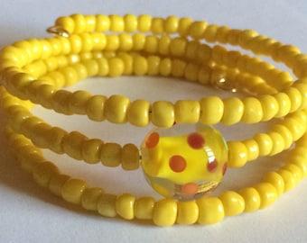 "Colorful ""Lemonade"" Beaded Memory Wire Bracelet"