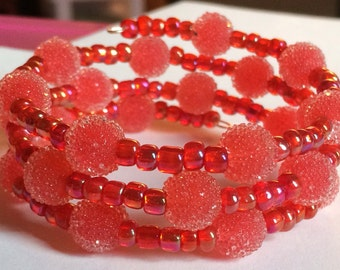 """Colorful """"Cinnamon Red Hots"""" Beaded Memory Wire Bracelet"""