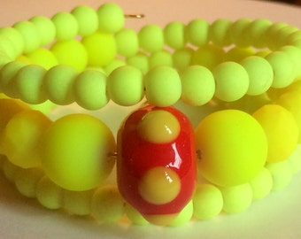 """Colorful """"Neon Bright as Light"""" Beaded Memory Wire Bracelet"""