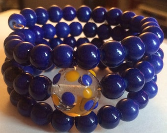"""Colorful """"Yellow & Blue, What a Hue"""" Beaded Memory Wire Bracelet"""