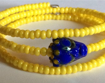 """Colorful """"Dharma Face"""" Beaded Memory Wire Bracelet"""
