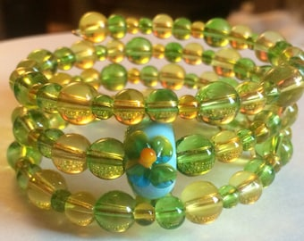 """Colorful """"Springs First Flower"""" Beaded Memory Wire Bracelet"""