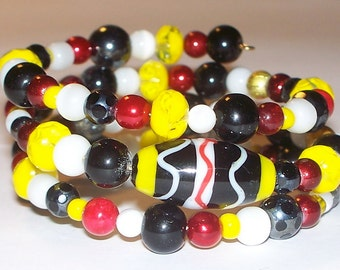 """Colorful """"Mayan Discovery"""" Beaded Memory Wire Bracelet"""