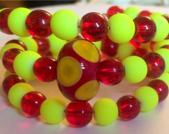 """Colorful """"Very Bright & Full of Might"""" Beaded Memory Wire Bracelet"""