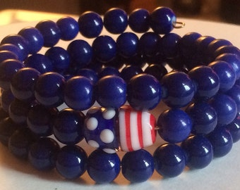 """Colorful """"Patriot With a Passion"""" Beaded Memory Wire Bracelet"""