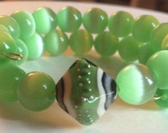 "Colorful ""Jaded"" Beaded Memory Wire Bracelet"