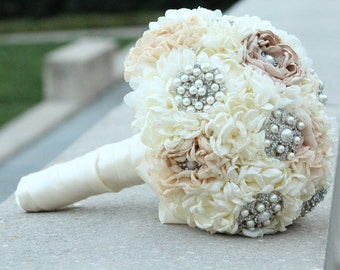 Bridal Fabric Flower Brooch Wedding Bouquet /  Made to Order