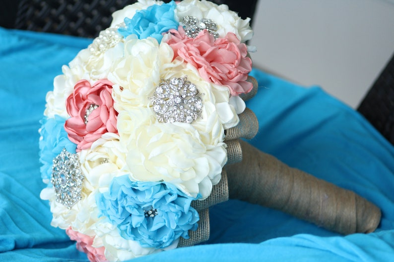 Bridal Fabric Flower Brooch Wedding Bouquet   Made to Order