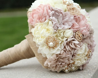 Blush Pink Bridal Fabric Brooch Bouquet /  Wedding Brooch Bouquet / Made to Order