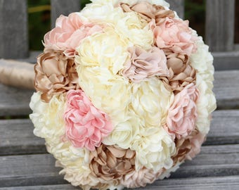 Fabric Flower and Brooch Wedding Bouquet /  Made to Order
