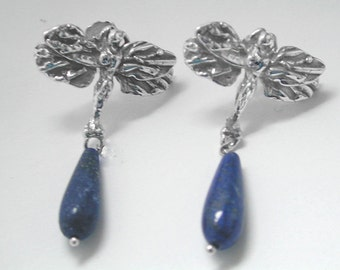 DRAGONFLY EARRINGS Sterling Silver with Precious Lapis Lazuli Teardrops.  Designed and Created by Insects Jewelry . Handmade.