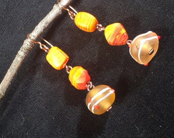BRIGHT Orange and Copper mismatched earrings