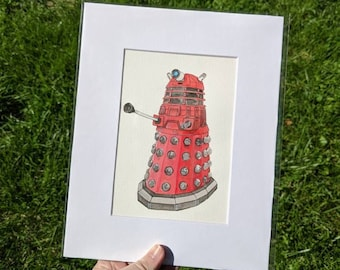 Doctor Who Red Dalek Watercolor Painting