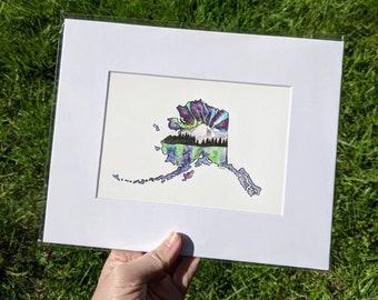 Alaska Art Print, Aurora Borealis Art, Alaska Outline Art 8x10