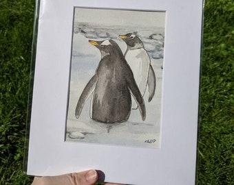 Penguin Watercolor Painting, Penguin Wall art