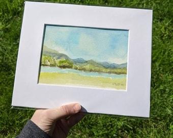 Landscape Watercolor Painting, Blue Ridge Mountains Watercolor