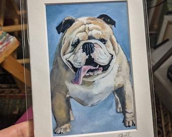 English Bulldog Art Print, English Bulldog Decor, English Bulldog Gift