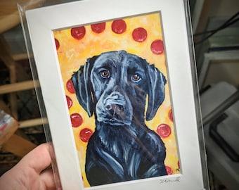 Black Lab Art Print, Black Labrador Painting, Funny Lab Painting, Black Lab Gift