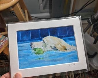 Yellow Lab Swimming Art Print, Yellow Labrador, Yellow Lab Gift