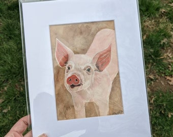 Pig Watercolor Painting, Pig Art, Pig Decor