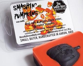 smashin pumpkins wax melts - halloween pumpkin wax melts - strong pumpkin, amber, peppercorn