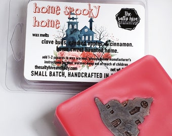 home spooky home wax melts - candied apple, cinnamon, clove - haunted home wax melts
