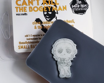 can't kill the bogeyman - horror wax melts -halloween inspired wax melt - michael myers, patchouli, clove, night he came home