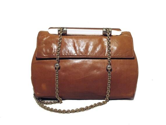 1970s Camel Leather & Lucite Shoulder Bag