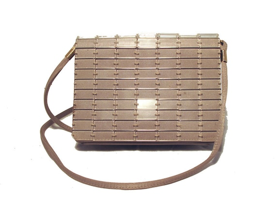 1960s Taupe Silk & Lucite Beaded Clutch or Shoulde