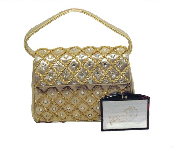 1950s Gold Lamé & Rhinestone Handbag Evening Purse