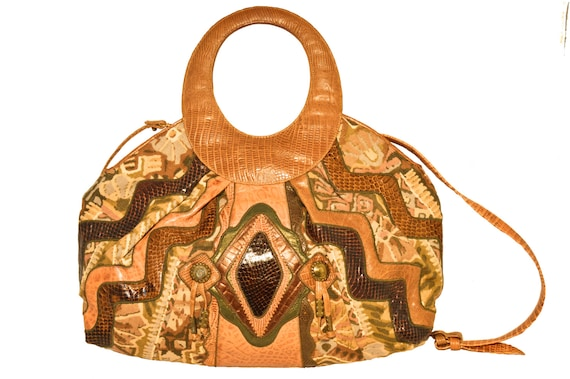1980s Southwestern Large Leather Patchwork Shoulde