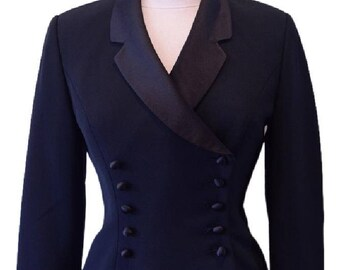 KASPER Women's Black Fitted Double Breasted Evening Jacket