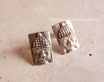 BUDDHA Earrings-925 solid sterling silver earrings with Buddha face-ethnochic, stud earrings