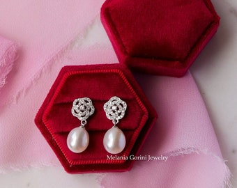 BRIGHT CAMELIA Earrings - 925 sterling silver button earrings - authentic high quality freshwater pearls - camellia flowers zirconia
