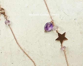 MAGIC Necklace-925 sterling silver rose 18K gold plated Y necklace, star connector, semiprecious stones-two ways to wear it-minimal