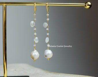 MOONY Earrings – 925 sterling silver earrings electroplated with 18k gold, moonstone faceted beads-baroque pearls pendant