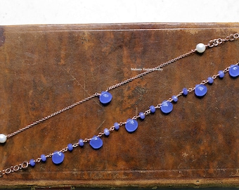 BLUE Bracelets - Set of two 925 sterling silver electroplated with 18K rose gold bracelets-faceted blue agate beads and drops-natural stones