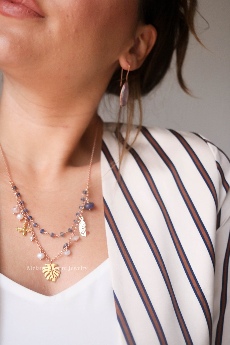 faceted apatite-Made In Italy feather leaf charms-semiprecious stones VITA Necklace-925 sterling silver 18k rose gold plated with bee