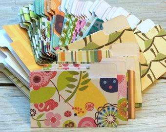 Mini File Folders, Scrapbook Embellishments, Miniature Office File Folders,  Journal Supplies, random assortment of patterns  pack of 10